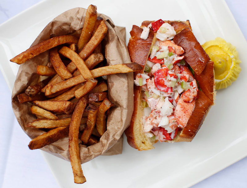 Lobster roll and fries from Atlantic Fish Company