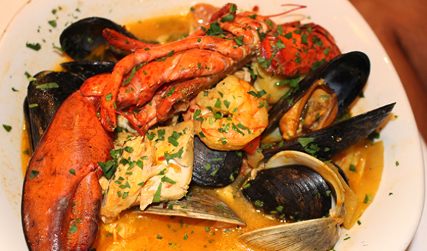 mixed seafood platter with clams, mussels, shrimp, and lobster
